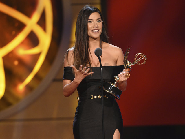"Jacqueline MacInnes Wood accepts the award for outstanding lead actress in a drama series for ""The Bold and the Beautiful"", at the 46th annual Daytime Emmy Awards at the Pasadena Civic Center on Sunday, May 5, 2019, in Pasadena, Calif. (Photo by Chris Pizzello/Invision/AP Photo)"