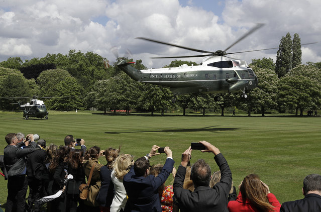 The helicopter carrying President Donald Trump and first lady Melania Trump lands in the garden of Buckingham Palace in London, before a ceremonial welcome Monday, June 3, 2019 on the opening day of a three day state visit to Britain. (Photo by Matt Dunham/AP Photo)