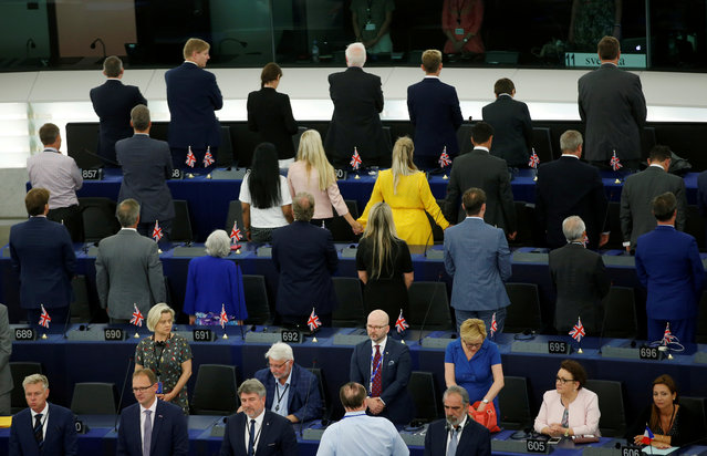 Members of the Brexit Party turn their back to the assembly as the European anthem is played, during the first plenary session of the newly elected European Parliament in Strasbourg, France, July 2, 2019. (Photo by Vincent Kessler/Reuters)