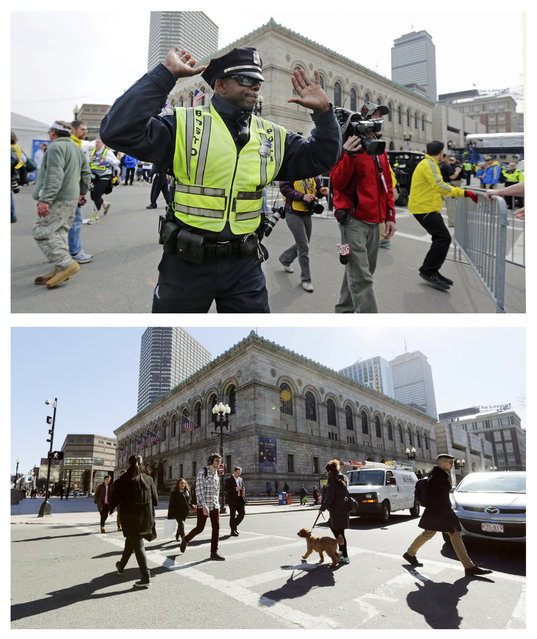 This combination of April 15, 2013 and April 2, 2014 photos show a police officer clearing Boylston Street following a bomb blast near the finish line of the 2013 Boston Marathon, and pedestrians crossing at the same corner nearly a year later in Boston. (Photo by Charles Krupa/AP Photo)