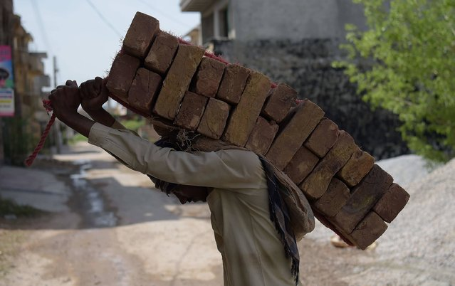 A Pakistani labourer carries bricks on his back at a construction site at a residential area in Islamabad on March 29, 2017. (Photo by Aamir Qureshi/AFP Photo)