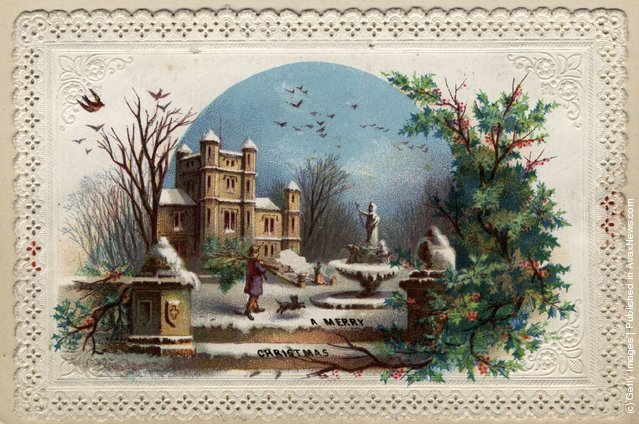 December 1872: The gardener collects holly for Christmas on this lace-edged greetings card