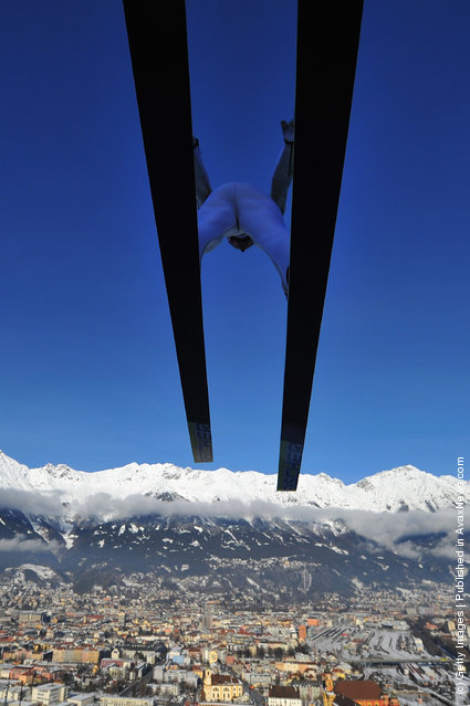 Severin Freund of Germany competes during the training round of the FIS Ski Jumping World Cup
