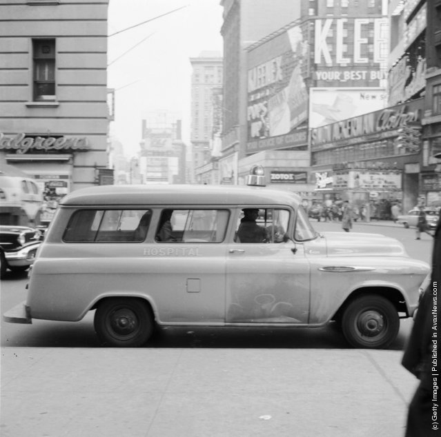 1956: A Beth David Hospital ambulance on call in Times Square
