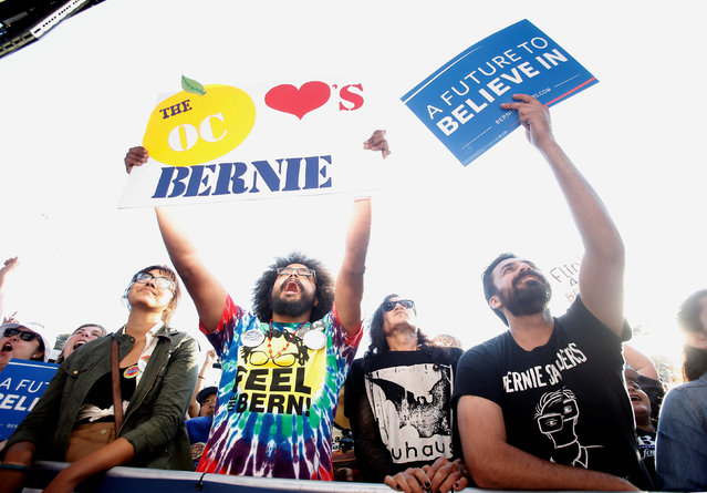 Supporters for U S. Democratic presidential candidate Bernie Sanders yell out during Sanders' speech at a campaign rally in Irvine, California U.S. May 22, 2016. (Photo by Alex Gallardo/Reuters)
