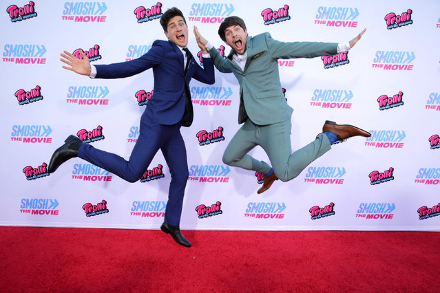 """Anthony Padilla and Ian Hecox seen at the Los Angeles Premiere of AwesomenessTV and Defy Media's """"SMOSH: THE MOVIE"""" held at Westwood Village Theatre on Wednesday, July 22, 2015, in Los Angeles. (Photo by Eric Charbonneau/Invision for AwesomenessTV/AP Images)"""