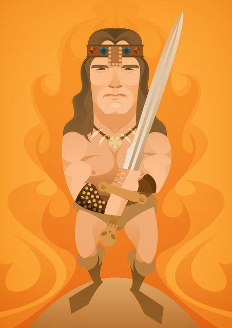 Arnie as Conan