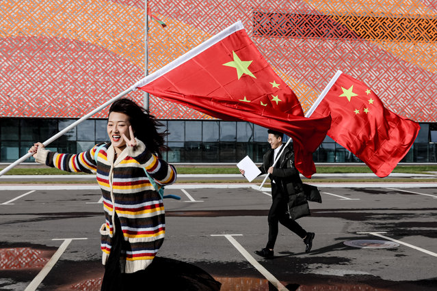Celebrations of the 70th anniversary of the founding of the People's Republic of China take place at the Big Stone, a Belarusian-Chinese industrial park in Belarus's Smalyavichy district on October 10, 2019. (Photo by Uladz Hrydzin/Radio Free Europe/Radio Liberty)