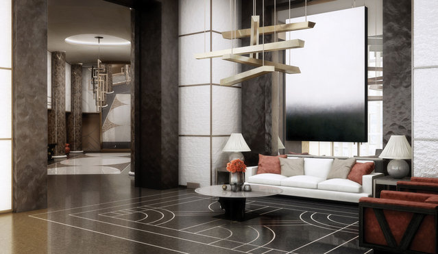 The lobby will have a concierge around the clock, as if residents lived within an exclusive five-star hotel. (Photo by Tour Odeon)
