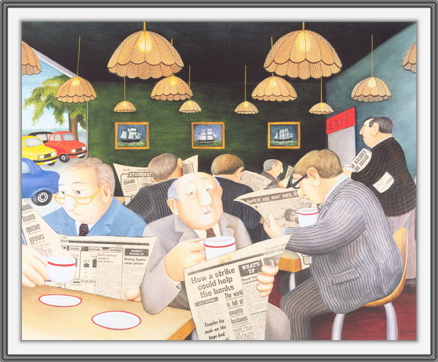 Motorway Cafe. Artwork by Beryl Cook