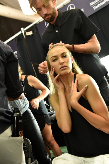 A model prepares backstage at the Meskita fashion show during Mercedes-Benz Fashion Week Spring 2015 on September 4, 2014 in New York City. (Photo by Larry Busacca/Getty Images for Meskita)