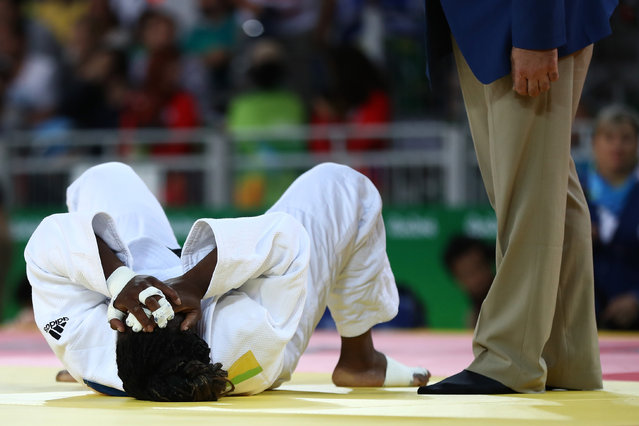 Gevrise Emane of France reacts against Sally Conway of Great Britain during a Women's -70kg bout on Day 5 of the Rio 2016 Olympic Games at Carioca Arena 2 on August 10, 2016 in Rio de Janeiro, Brazil. (Photo by Elsa/Getty Images)