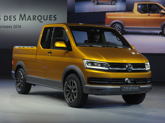 A Volkswagen Tristar is presented at the Volkswagen Group Night show on October 1, 2014 in Paris  prior to the opening on October 2nd of the Paris Auto show 2014 Press days. (Photo by Eric Piermont/AFP Photo)