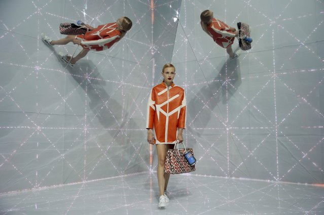 A model presents a creation from the Anya Hindmarch Spring/Summer 2016 collection during London Fashion Week in London, Britain September 22, 2015. (Photo by Suzanne Plunkett/Reuters)