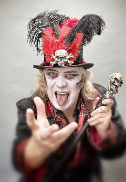 Dok Haze poses for a photograph prior to a rehearsal of the Circus of Horrors' latest show The Night of the Zombie at the Wookey Hole Caves Theatre near Wells on October 23, 2014 in Somerset, England. (Photo by Matt Cardy/Getty Images)