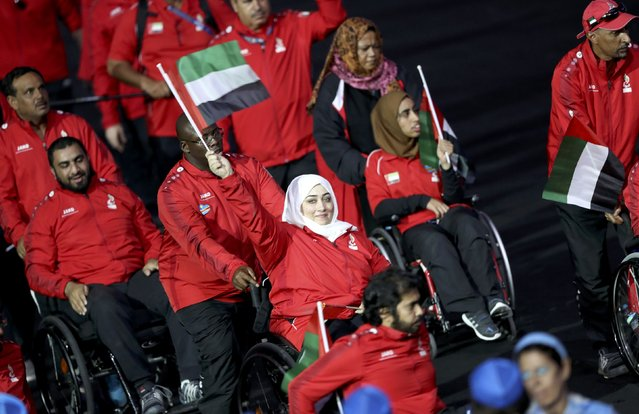 2016 Rio Paralympics, Opening ceremony, Maracana, Rio de Janeiro, Brazil on September 7, 2016. Athletes from United Arab Emirates take part in the opening ceremony. (Photo by Ueslei Marcelino/Reuters)