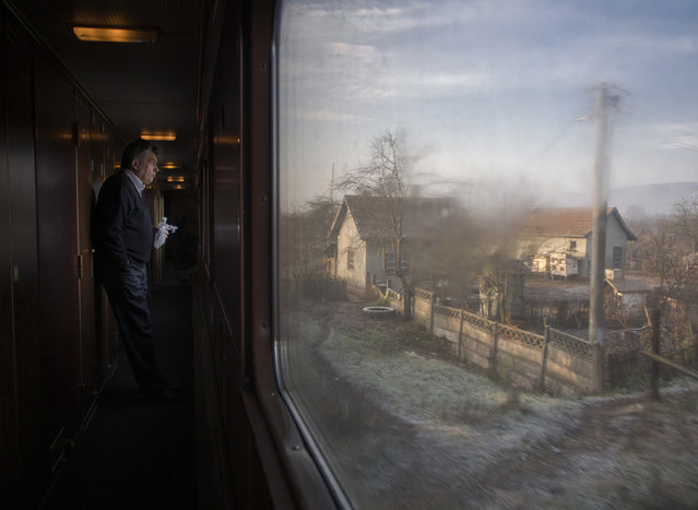 """""""Return to childhood landscapes. The picture is made in Romania, on the train from Bucharest to Baia Mare in a foggy morning in autumn of 2012"""". (Photo and comment by Hajdu Tamas, Romania/2013 Sony World Photography Awards"""