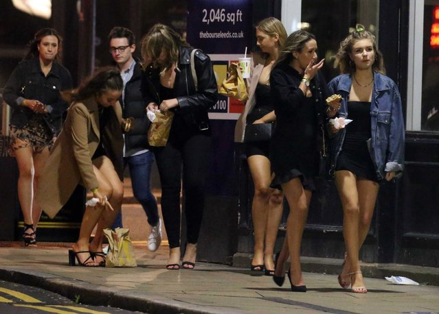 """Revellers partied the night away in Leeds, UK on September 5, 2020. Leeds has been added to Public Health England's coronavirus """"watchlist"""" and could be hit with lockdown measures after a rise in coronavirus cases in the city. (Photo by NB Press LTD/The Sun)"""