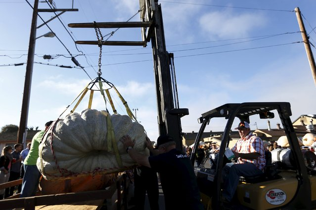 Workers use a forklift to move a pumpkin during the 42nd annual Safeway World Championship Pumpkin Weigh-off in Half Moon Bay, California October 12, 2015. (Photo by Stephen Lam/Reuters)