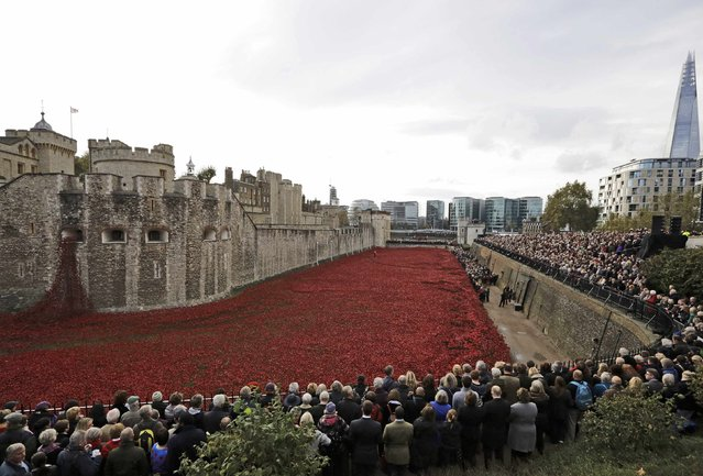 """Crowds view the ceramic poppies that form part of the art installation """"Blood Swept Lands and Seas of Red"""" during Armistice Day at the Tower of London in London November 11, 2014. (Photo by Kevin Coombs/Reuters)"""