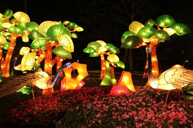 People visit a lantern show to celebrate the Spring Festival on February 17, 2013 in Guangzhou, China. The Chinese Lunar New Year of Snake also known as the Spring Festival, which is based on the Lunisolar Chinese calendar, is celebrated from the first day of the first month of the lunar year and ends with Lantern Festival on the Fifteenth day.  (Photo by China Foto Press)