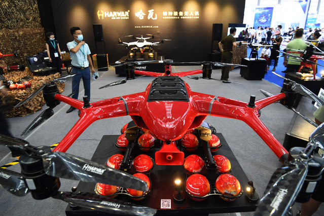 A drone developed by Harwar International Aviation Technology (Shenzhen) Co.,Ltd. is on display during 2020 Drone World Congress at Shenzhen Convention and Exhibition Center on September 13, 2020 in Shenzhen, Guangdong Province of China. (Photo by VCG/VCG via Getty Images)