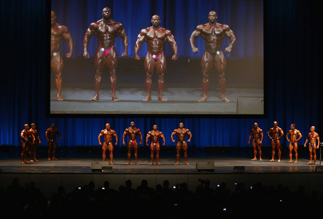 Competitors stand on stage during the IFBB Australia Pro Grand Prix at The Plenary on March 9, 2013 in Melbourne, Australia.  (Photo by Robert Cianflone)