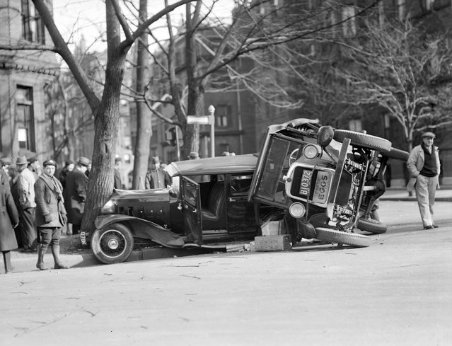 Car and truck collide, Back Bay, 1932. (Photo by Leslie Jones)
