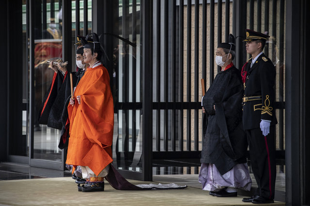 Japanese Crown Prince Fumihito, better known as Prince Akishino, leaves the Imperial Palace after being formally declared first in line to succeed the Chrysanthemum Throne during a ceremony Sunday, November 8, 2020 in Tokyo, Japan. (Photo by Carl Court/Pool Photo via AP Photo)