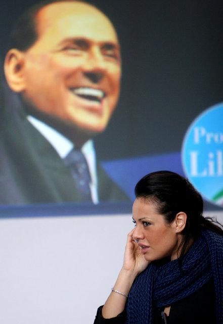 """Silvio Berlusconi and Michela Vittoria Brambilla present """"Freedom's Promoters"""". In the photo:  Graziana Capone, Pdl candidate for regional elections. February 24, 2010, Rome. (Photo by Marco Merlini/LaPresse)"""