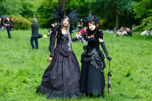 Participants in black clothing and feather-hats pose for pictures during the traditional park picnic on the first day of the annual Wave-Gotik Treffen, or Wave and Goth Festival, on May 17, 2013 in Leipzig, Germany. The four-day festival, in which elaborate fashion is a must, brings together over 20,000 Wave, Goth and steam punk enthusiasts from all over the world for concerts, readings, films, a Middle Ages market and workshops. (Photo by Marco Prosch)