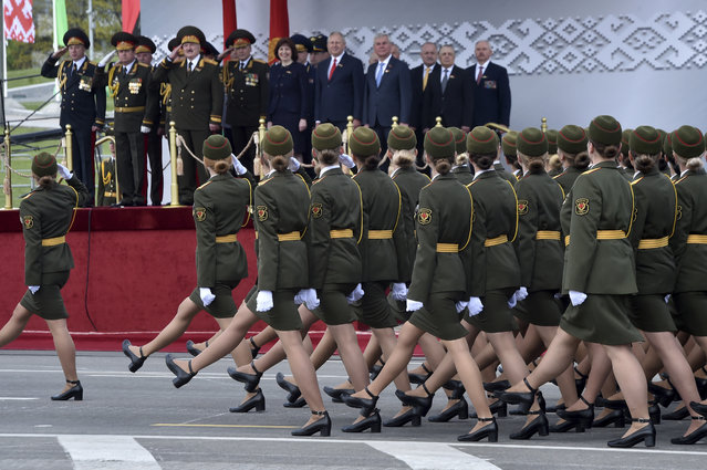 Belarus' servicewomen take part in a military parade that marked the 75th anniversary of the allied victory over Nazi Germany, in Minsk, Belarus, Saturday, May 9, 2020. (Photo by Sergei Gapon/Pool via AP Photo)