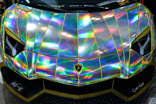 A close up of a Holographic Lamborghini Aventador is seen at the Tokyo Auto Salon 2015 at Makuhari Messe on January 9, 2015 in Chiba, Japan. (Photo by Keith Tsuji/Getty Images)