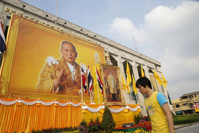A boy walks in front of a picture of Thailand's King Bhumibol Adulyadej hanging from a public building to mark his 88th birthday, in Bangkok December 5, 2015. (Photo by Jorge Silva/Reuters)