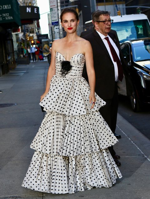 Natalie Portman is spotted in New York wearing a polka-dot Miu Miu gown on June 14, 2018. (Photo by Nancy Rivera/Splash News and Pictures)