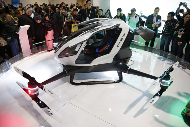The EHang 184 autonomous aerial vehicle is unveiled at the EHang booth at CES International, Wednesday, January 6, 2016, in Las Vegas. (Photo by John Locher/AP Photo)