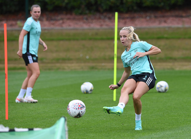 Beth Mead of Arsenal during the Arsenal Women training session at London Colney on July 12, 2021 in St Albans, England. (Photo by David Price/Arsenal FC via Getty Images)