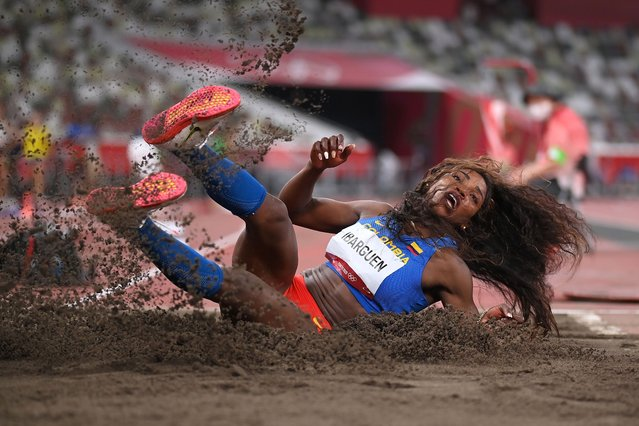 Caterine Ibarguen of Team Colombia competes in the Women's Triple Jump Qualification on day seven of the Tokyo 2020 Olympic Games at Olympic Stadium on July 30, 2021 in Tokyo, Japan. (Photo by Matthias Hangst/Getty Images)
