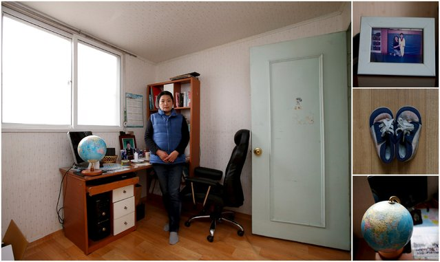 "A combination picture shows Lee Hye-kyung, mother of Jeon Hyeon-tak, a high school student who died in the Sewol ferry disaster, as she poses for a photograph in her son's room, as well as details of objects, in Ansan April 8, 2015. Lee said: ""Hyeon-tak's body was discovered on May 1. How could I say even a word in front of such a deep sorrow. I don't have any passion for my life. I raised him with all my heart. Hyeon-tak, thank you for the life you spent with me"". (Photo by Kim Hong-Ji/Reuters)"