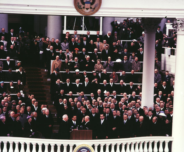 Chief Justice Earl Warren administers the Oath of Office to Dwight D. Eisenhower on the east portico of the Capitol in Washington, D.C., U.S. in January 1957. (Photo by Reuters/Library of Congress)