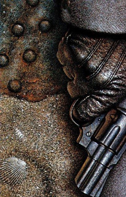 Gun and Sand, cover for Cosecha Roja (Ediciones B, Spain). Artwork by Oscar Chichoni
