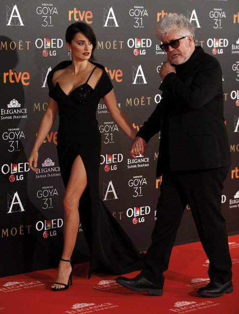 Penelope Cruz and Pedro Almodovar walk holding their hands after posing on the red carpet at the Spanish Film Academy's Goya Awards ceremony in Madrid, Spain, February 4, 2017. (Photo by Juan Medina/Reuters)