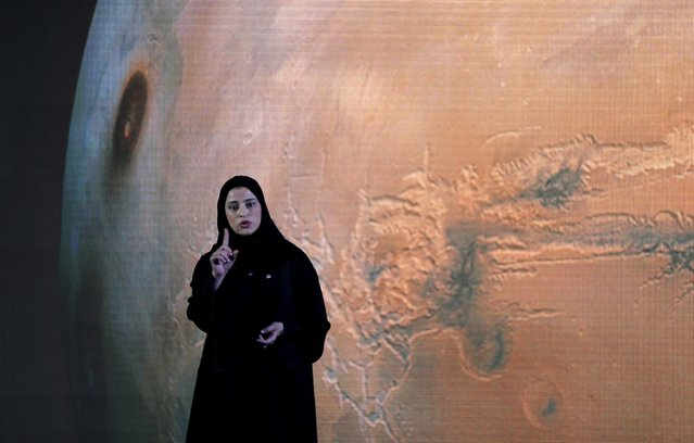 """Sarah Amiri, Deputy Project Manager of a planned United Arab Emirates Mars mission talks about the project named """"Hope"""" – or """"al-Amal"""" in Arabic – which is scheduled be launched in 2020, during a ceremony in Dubai, UAE, Wednesday, May 6, 2015. It would be the Arab world's first space probe to Mars and will take seven to nine months to reach the red planet, arriving in 2021. (Photo by Kamran Jebreili/AP Photo)"""
