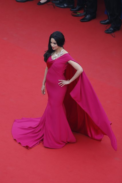 """Mallika Sherawat attends Premiere of """"Mad Max: Fury Road"""" during the 68th annual Cannes Film Festival on May 14, 2015 in Cannes, France. (Photo by Pool/Getty Images)"""