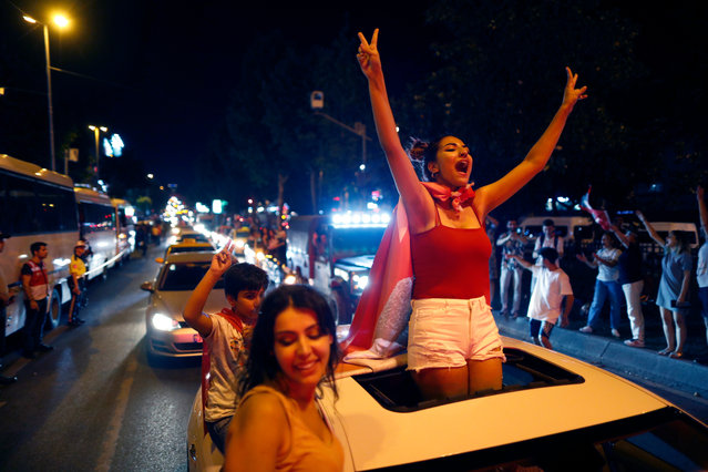 Supporters of Ekrem Imamoglu, the candidate of the secular opposition Republican People's Party, CHP, celebrate in central Istanbul, Sunday, June 23, 2019. In a blow to Turkish President Recep Tayyip Erdogan, Imamoglu declared victory in the Istanbul mayor's race for a second time Sunday after Binali Yildirim, the government-backed candidate conceded defeat in a high-stakes repeat election. (Photo by Lefteris Piarakis/AP Photo)