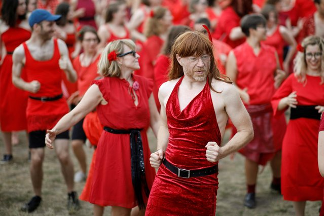 """People dressed like Kate Bush take part in """"The Most Wuthering Heights Day Ever"""" flash mob in Berlin , Germany, July 13, 2019. (Photo by Axel Schmidt/Reuters)"""