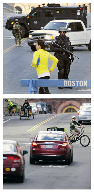 This combination of April 16, 2013 and April 9, 2014 photos show a runner passing a police officer dressed in tactical gear blocking a road leading to the Boston Marathon route the morning after two bomb blasts killed three people and injured 260 more, and traffic on that street almost a year later during a normal weekday in Boston. (Photo by Charles Krupa/AP Photo)