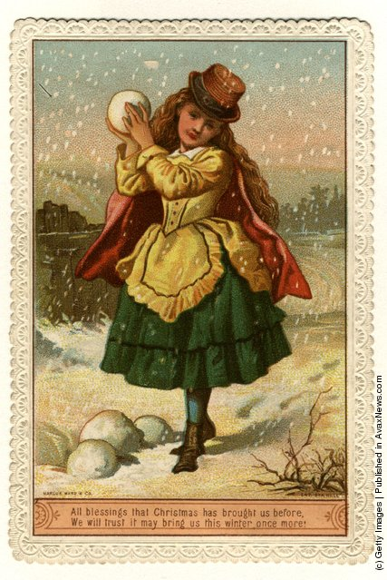 1890: A young girl holds a snowball in this Victorian Christmas greetings card