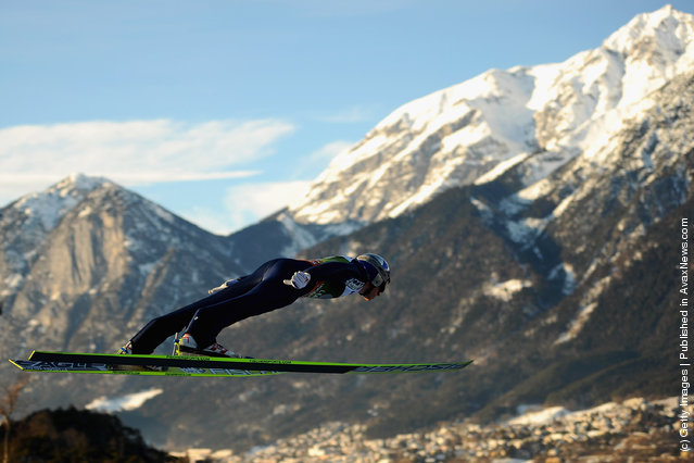 Gregor Schlierenzauer of Austria competes during the qualification round of the FIS Ski Jumping World Cup