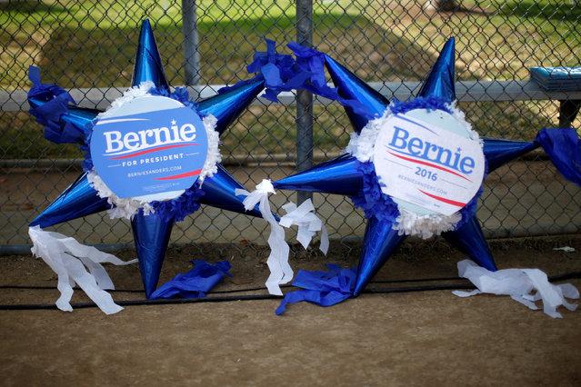 Pinatas lie on the ground before U.S. Democratic presidential candidate Bernie Sanders speaks in East Los Angeles, California, U.S. May 23, 2016. (Photo by Lucy Nicholson/Reuters)
